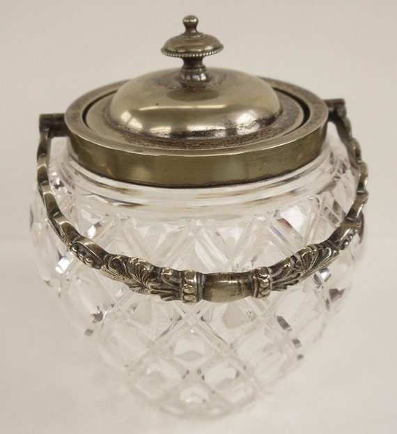 Cookie Jar Edwardian Cut Glass Biscuit Barrel with Silverplate Lid and Handle