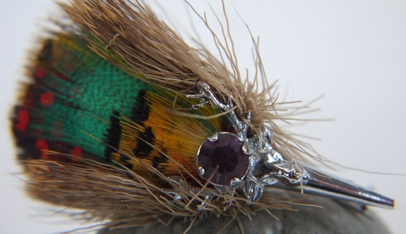 Stag Brooch with Plume Pheasant Feathers Game Brooch 1940s Art Deco