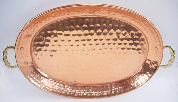 Copper Tray Vintage Hand Hammered Copper and Brass Serving Tray