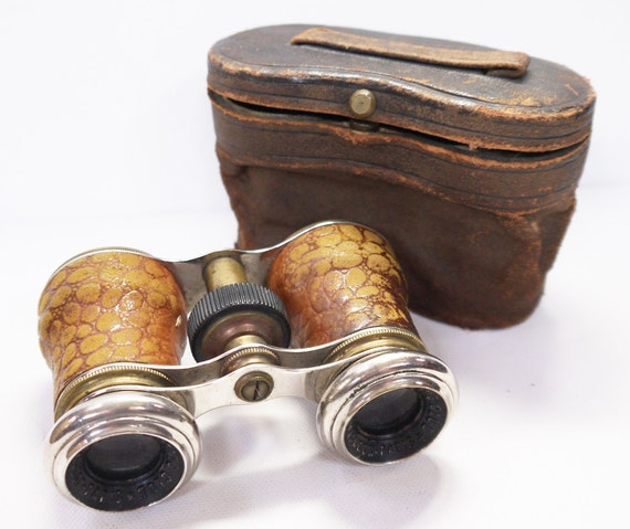 Antique English/French Binoculars by The London Touring Club 1930s Chrome