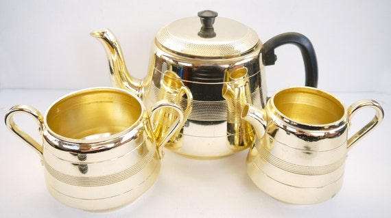 Vintage 1950s Retro Diamond Lustre Ware Tea Set
