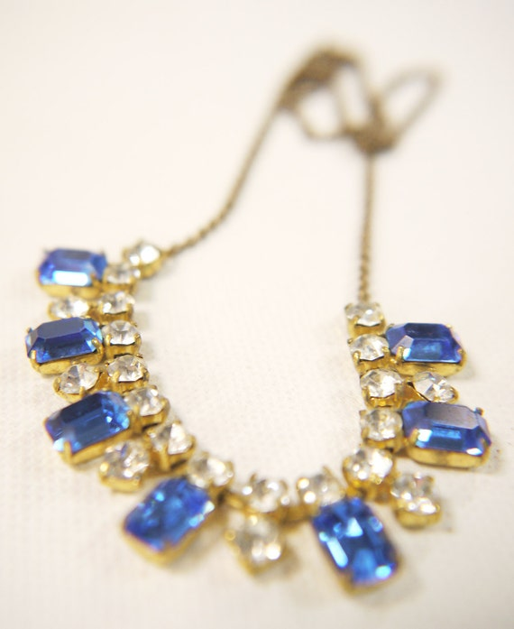 Reserved for Joven - Vintage Blue and White Faceted Necklace c.1960s