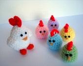 Easter Chicken Family -  Crochet Amigurumi Mom and Baby Chicks