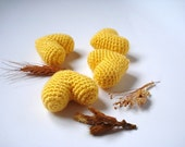 Yellow Amigurumi Crocheted Hearts, Shabby Chic Heart Ornaments, set of 4, Cake toppers