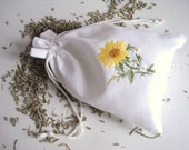 Lavender Sachet, Handmade Embroidery Pouch, Hand stitched Flower, Cotton Bag, Yellow Daisy