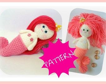 Crochet Mermaid Girl, PDF Amigurumi, Crochet Pattern, Amigurumi Doll, Toy for kids, Amigurumi Pattern, Instant download