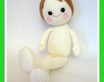 "Pattern, Amigurumi Pattern, PDF Crochet Amigurumi The Naked Boy Pattern 15.7"" (40 cm) tall, Tutorial - INSTANT DOWNLOAD"