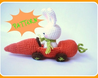 Amigurumi Pattern, PDF Amigurumi Crochet Bunny and Carrot Car Pattern