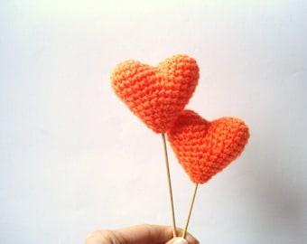 Wedding Cake Topper, Crochet Orange Hearts (Set of 2) Cake Toppers, For Valentine