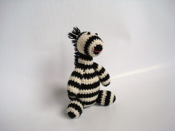 Stuffed Crocheted Amigurumi Zebra by AllSoCute on Etsy