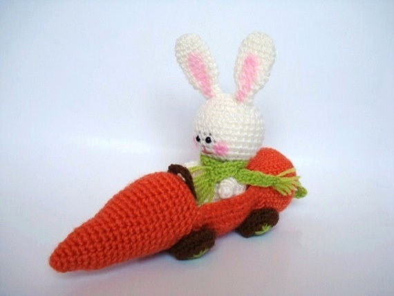 Etsy Amigurumi Bunny : Amigurumi Crochet Bunny and his Carrot Car by AllSoCute on ...