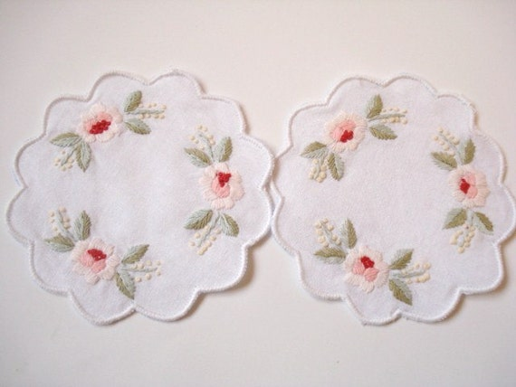Hand Stitched Embroidery Coasters, 100% Cotton Coasters, Home decor, Set of 2, Valentine day gifts, Rose