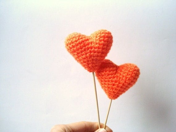 Wedding Cake Topper, Crochet Orange Hearts (Set of 2) Cake Toppers, For Valentine