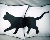 """Black and White Cat Silhouette Decorative Pillows 16""""X16"""""""