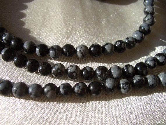 Snowflake Obsidian 4mm round beads, obsidian, gemstone beads, 4mm round, 4mm gemstone beads, marbled grey and black, 4mm obsidian beads