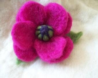 needle felted flower brooch