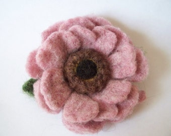 pink flower needle felted brooch