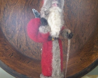 Father Christmas, Old Time Santa, Needle felted Santa