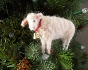 White lamb  Wool Needle felted  sheep with bell