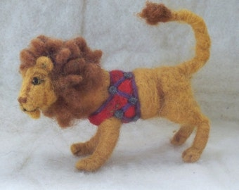 Circus Lion wool needle felted