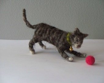 Gray Tiger Kitten   Needle Felted cat