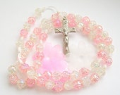 Valentines Rosary with Light Pink and White Rose-beads - ROSES COLLECTION (10032)