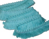 RESERVE for Michelle - Turquoise Fabric Trim - Retro 70's Sewing Brush Fringe Fabric Trim