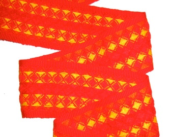 Retro Fabric Trim - Hot Colors Orange Yellow Waffle Woven Sewing Home Decor