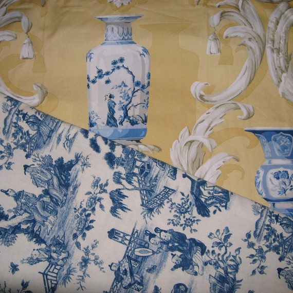 Toile Fabric Blue Toile Fabric Blue Chinese Vases Toile