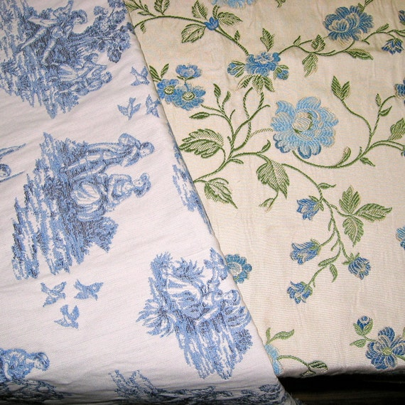 Toile Fabric - Blue Home Decor Upholstery Fabric Great Blue Sewing Fabric  for Home Decor  and Craft Projects