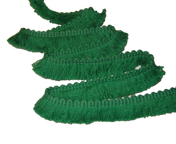 Reserved for Ellen Lincoln Green Fabric Trim - 12yards 12 yards Red Retro 70's Sewing Brush Fringe Fabric Trim