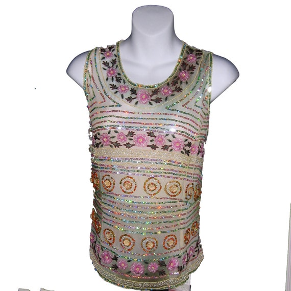 SALE Beaded Blouse Floral Silk Design - great for Parties Dance Evening  Social Events - Pink Floral Silk Blouse Shell