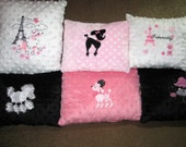 Paris poodle rose minky coordinating accent baby pillow with embroidery or plush toy poodle