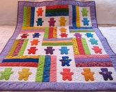 Baby Bears colorful applique pieced crib quilt by Bev with purple border
