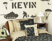 Personalized Name and Military Army Soldiers Vinyl Wall Decals Art Stickers for Kids (No. 025)