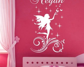 "X-Large 22""x37"" Personalized Name and Fairies Vinyl Wall Decals Art Stickers for Kids (No. 001)"