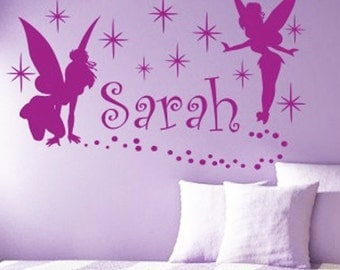 Personalized Name and Fairies Vinyl Wall Decals Art Stickers for Kids (No. 003)