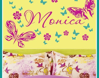 Personalized Name, Butterflies and Flowers Vinyl Wall Decals Art Stickers 2 Color (No. 053)