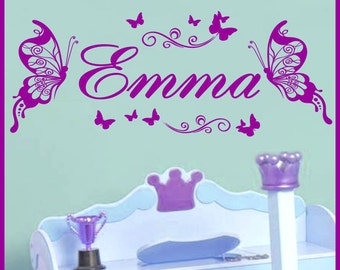 Personalized Name BUTTERFLIES Vinyl Wall Decals Art Stickers (No. 043)