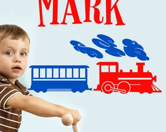 Personalized Name and TRAIN Vinyl Wall Decals Art Stickers for Kids Boys