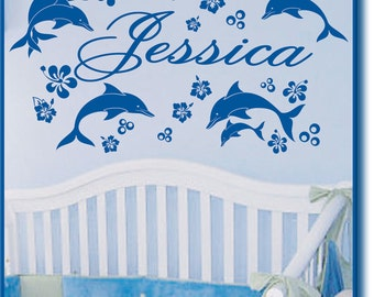 Personalized Name DOLPHINS & Hibiscus Flowers Vinyl Wall Decals Art Stickers Decor Nursery Kids Rooom