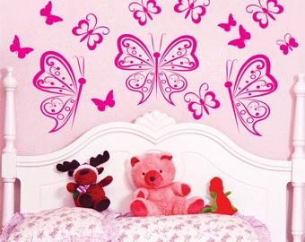 Personalized Butterflies Vinyl Wall Decals Art Stickers KIds Girls Nursery