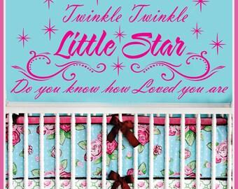 Twinkle Twinkle LITTLE STAR Vinyl Wall Decals Saying Quote Art Stickers Nursery Kids Girls