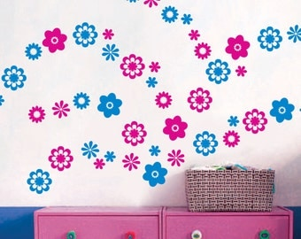 Two Color Assorted Flowers Vinyl Wall Decals Art Stickers KIds Nursery