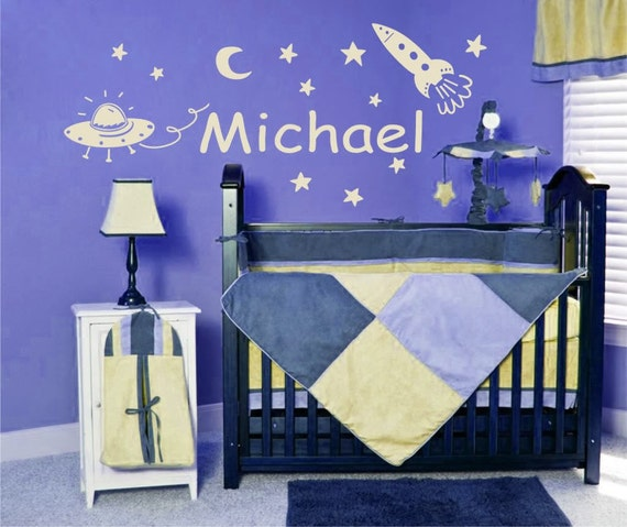 Personalized Name and Space Stars Vinyl Wall Decals Art Stickers for Kids (No. 021)