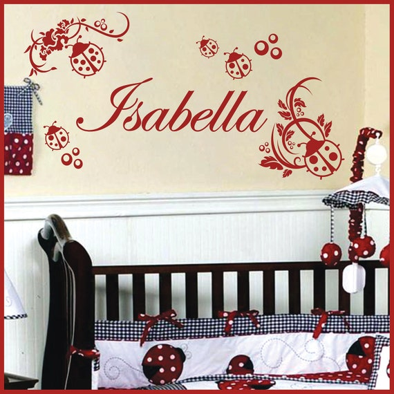 Personalized Name LADYBUG Vinyl Wall Decals Art Stickers  (No. 041)