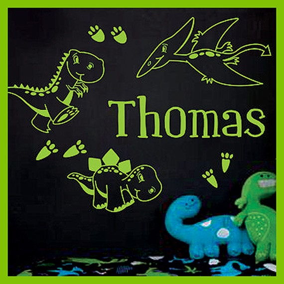 Personalized Name and DINOSAURS Vinyl Wall Decals Art Stickers for Kids