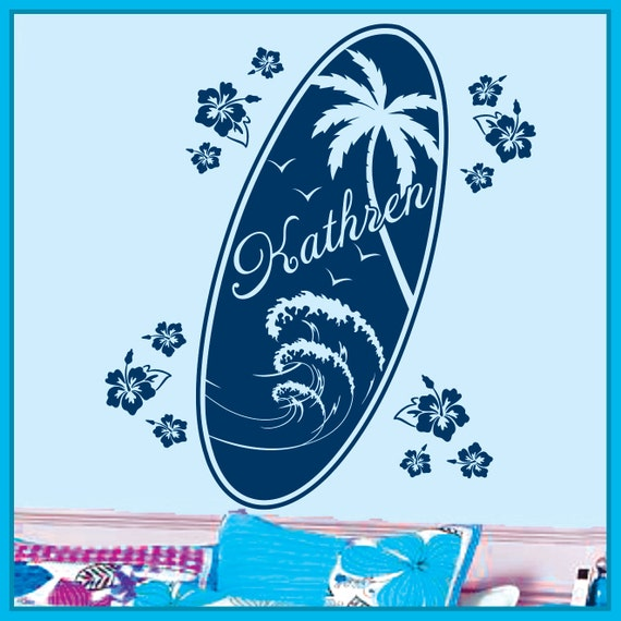 Personalized Name and SURF BOARD Vinyl Wall Decals Art Stickers for Kids Boys and Girls