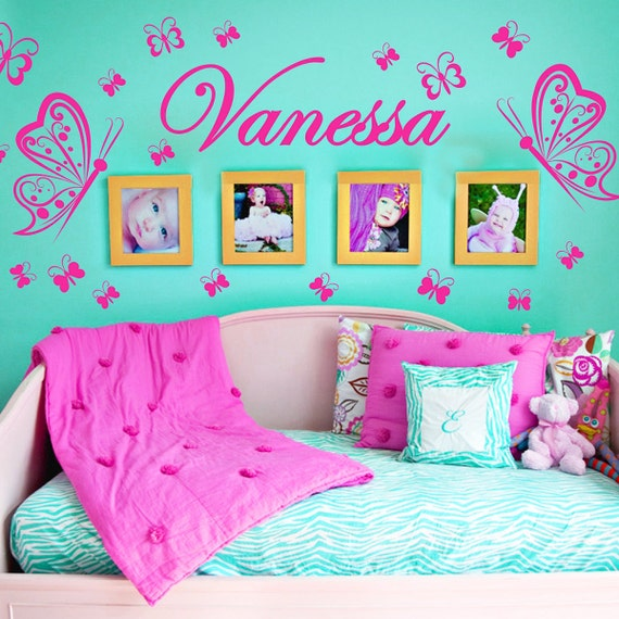 Personalized Name Butterflies Vinyl Wall Decals Art Stickers KIds Girls Nursery