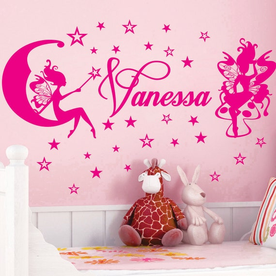 FAIRY Stars Name Personal  Vinyl Wall Decals Saying Quote Art Stickers Nursery Kids Girls